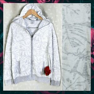 Tommy Bahama White Gray Leaf Zip Up Cotton Hoodie